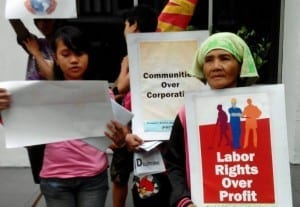 Worker right activists rallied outside World Bank meetings in the Philippines this fall. Photo: Alyansa Tigil Mina