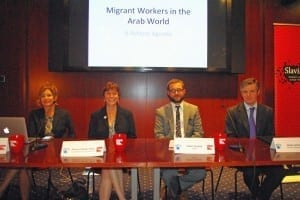 HRW's Sarah Leah Whitson, Solidarity Center Executive Director Shawna Bader-Blau, James Suzano of ADHRB and James Lynch at Amnesty International spoke at a Capitol Hill Briefing on migrant workers. Credit: Kate Conradt/Solidarity Center