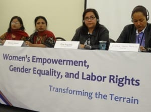 Panelists discussed their efforts in helping women in light manufacturing get a voice on the job. Credit: Tula Connell