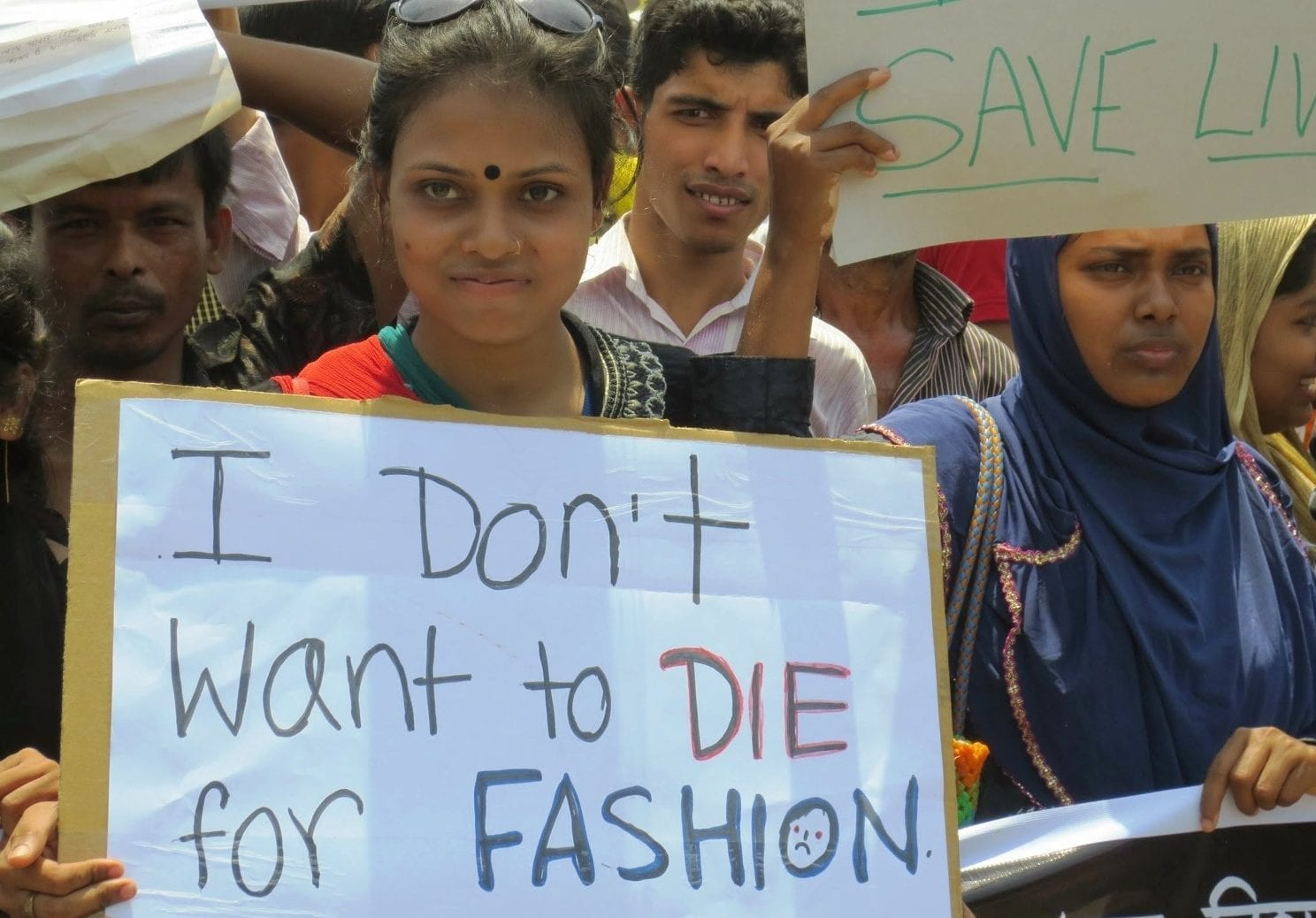 Photo of Woman in Bangladesh part of the I don't want to die for fashion rally