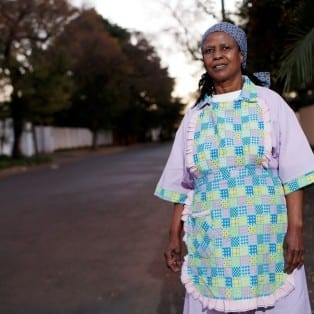 Salome Molefe is a domestic worker and union organizer in a suburb of Johannesburg, South Africa. The Solidarity Center is conducting test litigation to remedy health and safety laws that do not cover domestic workers. Credit: Jemal Countess/Solidarity Center