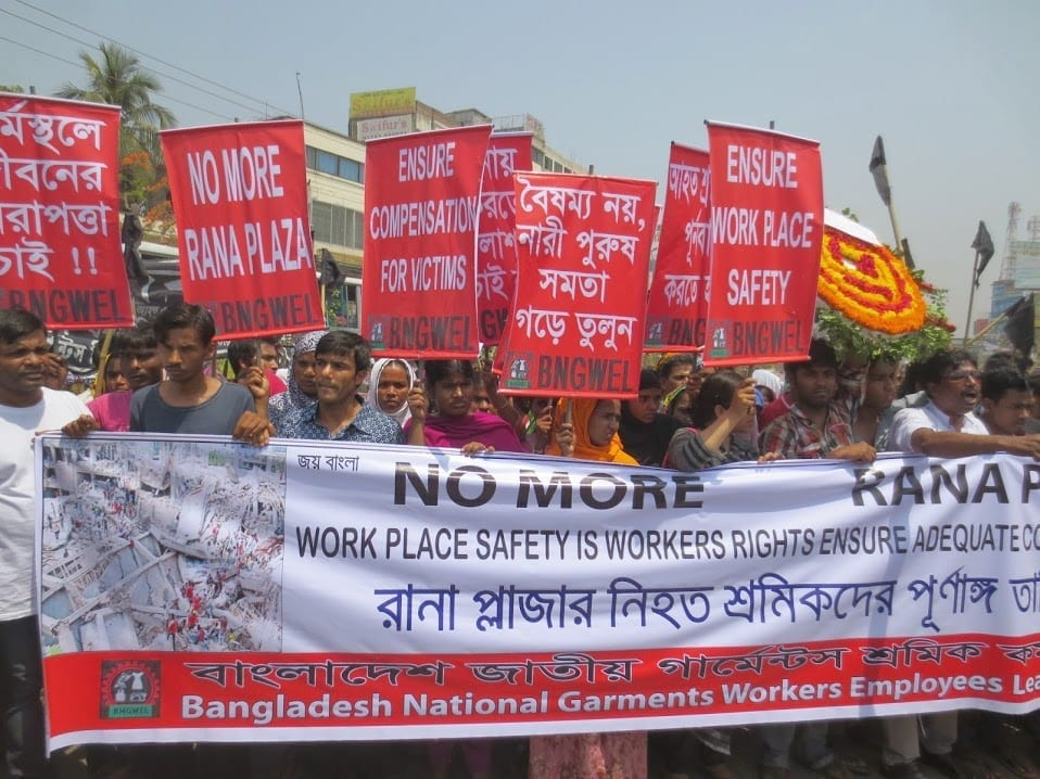Garment workers rally for workplace safety in Bangladesh. Photo: Solidarity Center