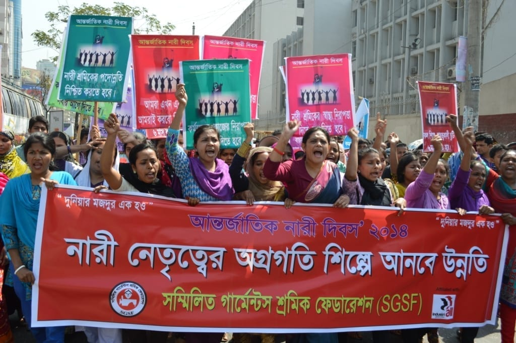 Garment workers march on International Women's Day in Bangladesh
