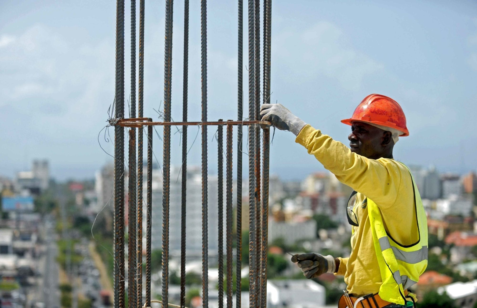 Migrant worker in the Dominican Republic working in construction
