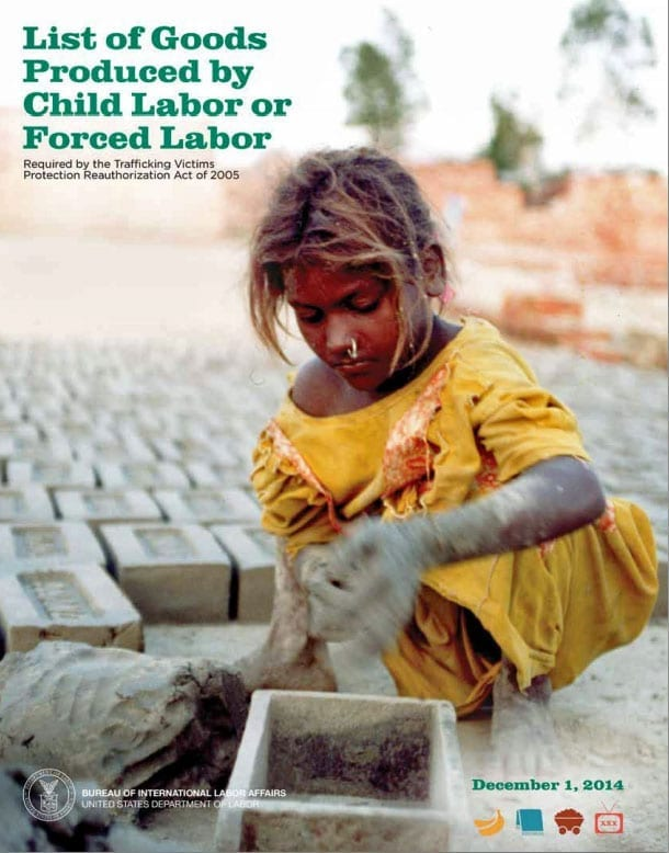 List of goods produced by child labor or forced labor informational poster