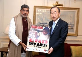 Kailash S. and Ban ki Moon.child labor petition.2015.Global March Against Child Labor
