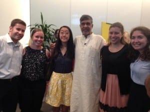 Kailash Satyarthi and SC interns Jeff Wheeler Rebecca Watts Irene Koo Jennifer Bognar Sophie Rickles6.2015
