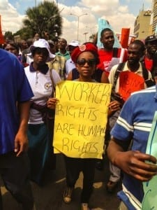Workers rallied in cities across Zimbabwe Saturday. Credit: Thando Khoza