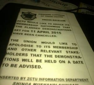 Zimbabwe.Fake pamphlet.April 2015 demos.ZCTU