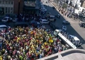 Zimbabwe.Street Vendors protest eviction in Harare.June 24, 2016.Solidarity Center