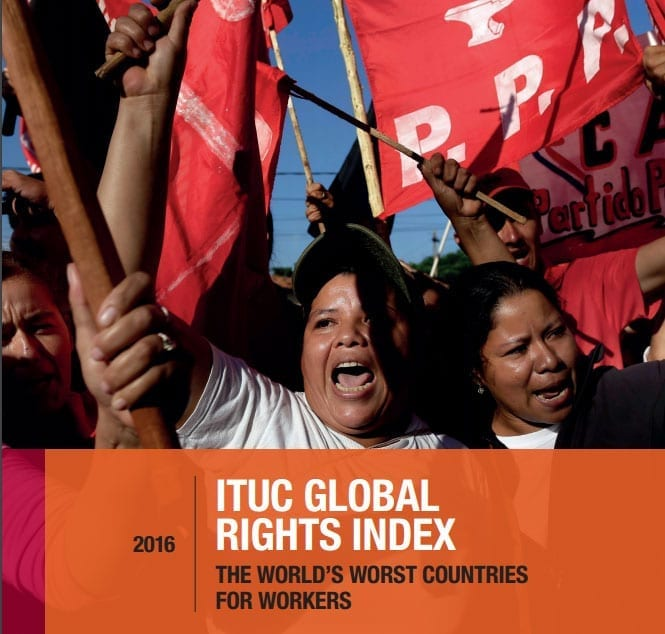 global rights index, worker rights, strikes, collective bargaining, unions, freedom of speech, Solidarity Center, ITUC