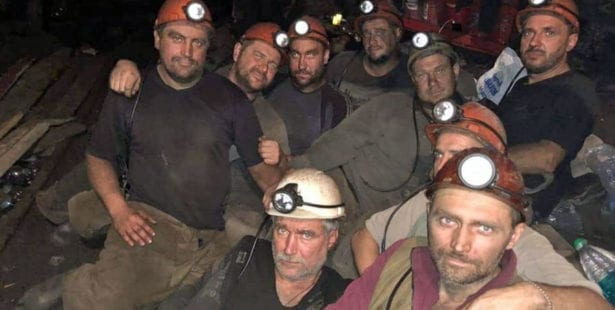 Ukraine, miners, underground protest, unpaid wages, Solidarity Center, unions
