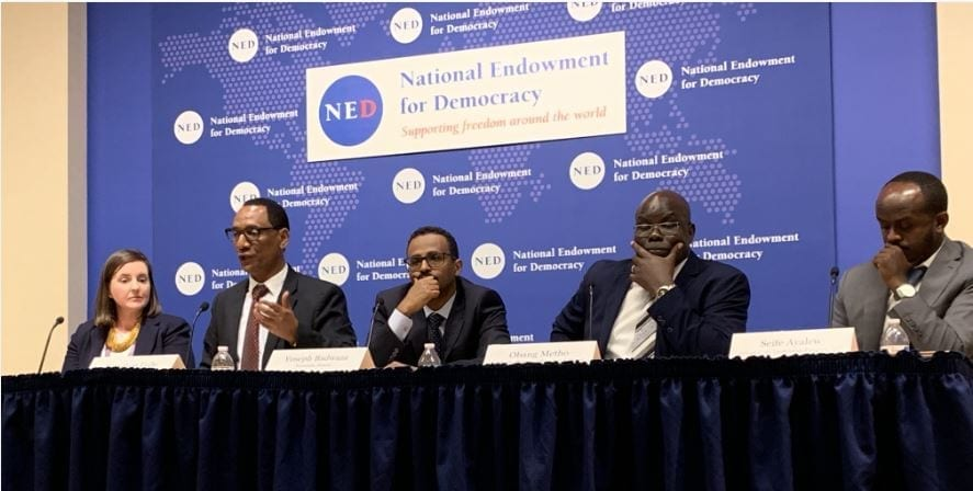 Ethiopia.Panelists in DC, Democratic Change, a One-Year Review.CROP.4.10.19.Mecca Abney