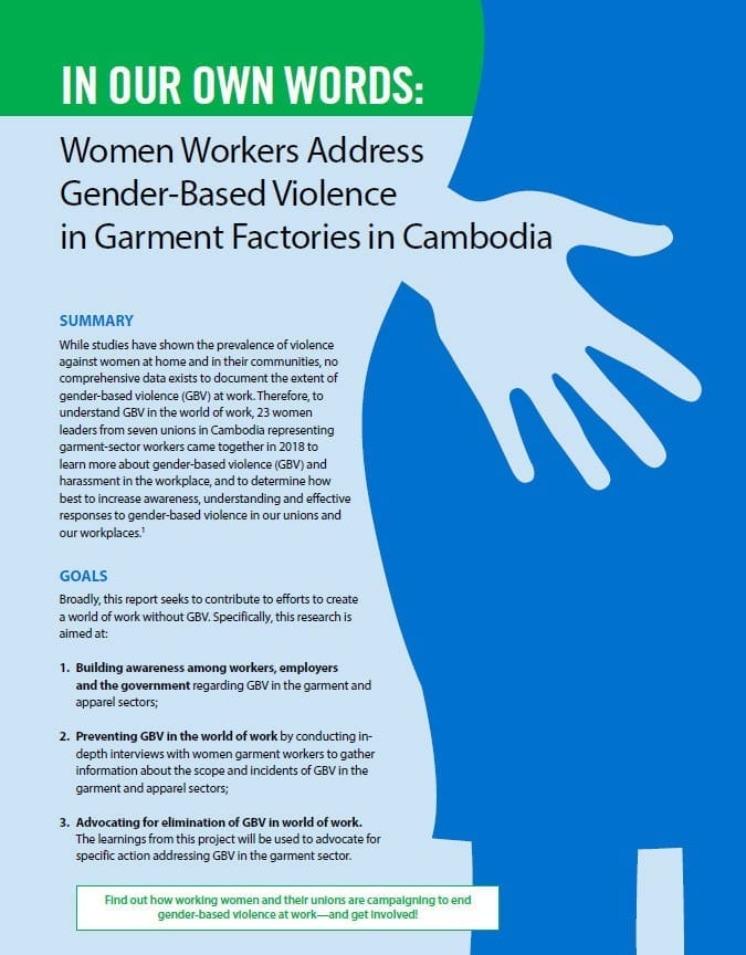 Cambodia, gender-based violence at work, Solidarity center, unions, garment factories