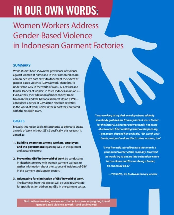gender-based violence, Indonesia, Solidarity Center, unions, garment workers