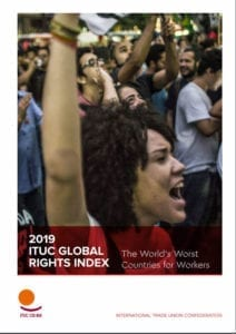 ITUC Global Rights Index report cover, Solidarity Center