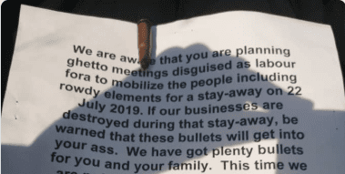 Death Threat: Zimbabwe Congress of Trade Unions