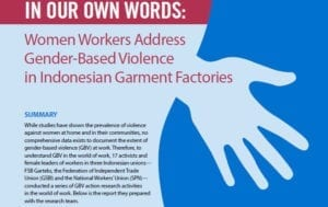 Gender-based violence at work, garment factories, Indonesia, Solidarity Center