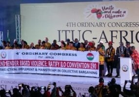 Gender-based violence and harassment at work. Solidarity Center. Worker Rights. ITUC-Africa. ILO Convention 190.