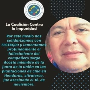 Jorge-Acosta murdered union leader in Honduras, Solidarity Center