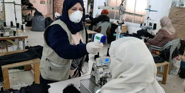 Palestine, textile workers tested for fever for COVID, unions, Solidarity Center