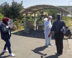 Palestine, COVID-19, union members checking workers at Israeli checkpoints, PGFTU, Solidarity Center
