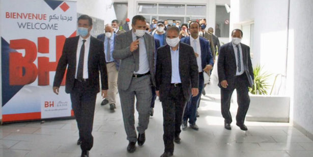 Tunisia, UGTT President Taboubi at social housing outfitted for quarantining health workers,COVID, coronavirus, worker rights, Solidarity Center