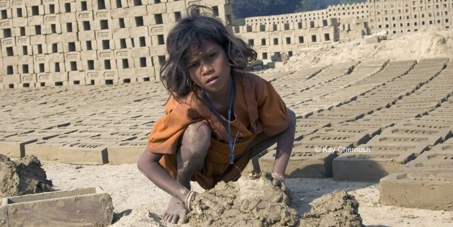 child labor, girl making bricks in India, worker rights, Solidarity Center