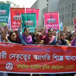 Bangladesh, Women's Day march, worker rights, Solidarity Center
