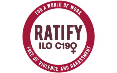 C190, gender-based violence at work, gender equality, ITUC logo, Solidarity Center