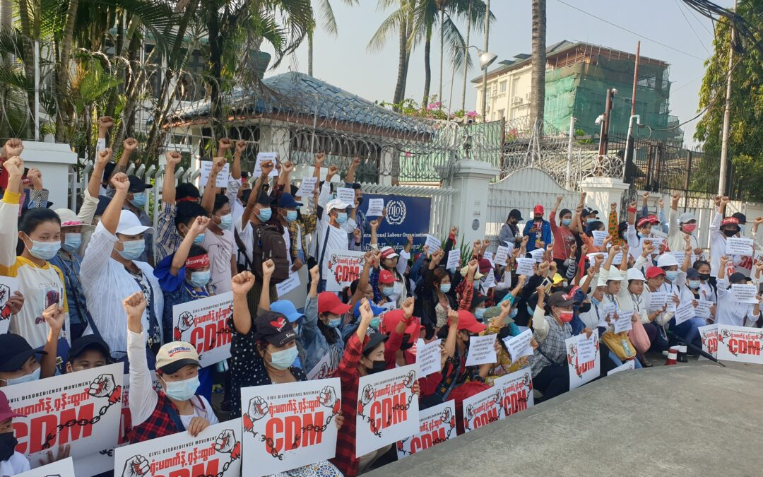 Myanmar, democracy protests by union members after military coup, worker rights, democracy, Solidarity Center
