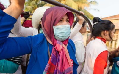 Cambodia, garment workers on transport to work, worker rights, Solidarity Center