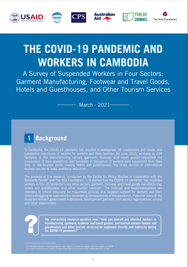 THE COVID-19 PANDEMIC AND WORKERS IN CAMBODIA
