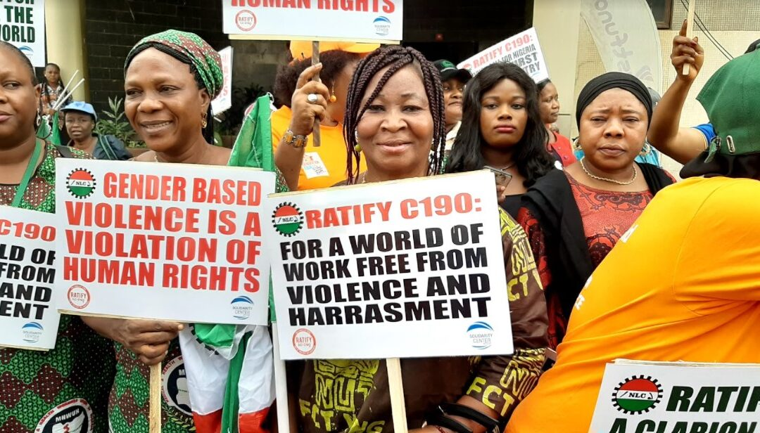 Nigeria's National Labor Congress women rally for ratification of C190 in March 2020 to mark International Women's Day.